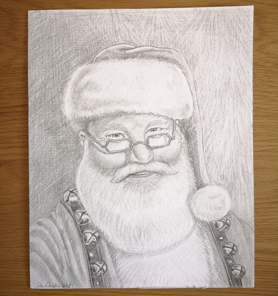 Santa Pencil Drawing by Glenn Quigley