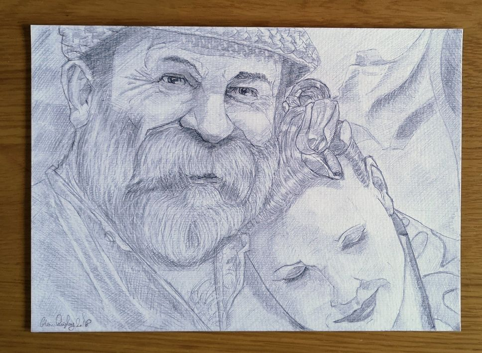 pencil drawing of Dick and Angel Strawbridge 22-23 Nov 2018 WEB