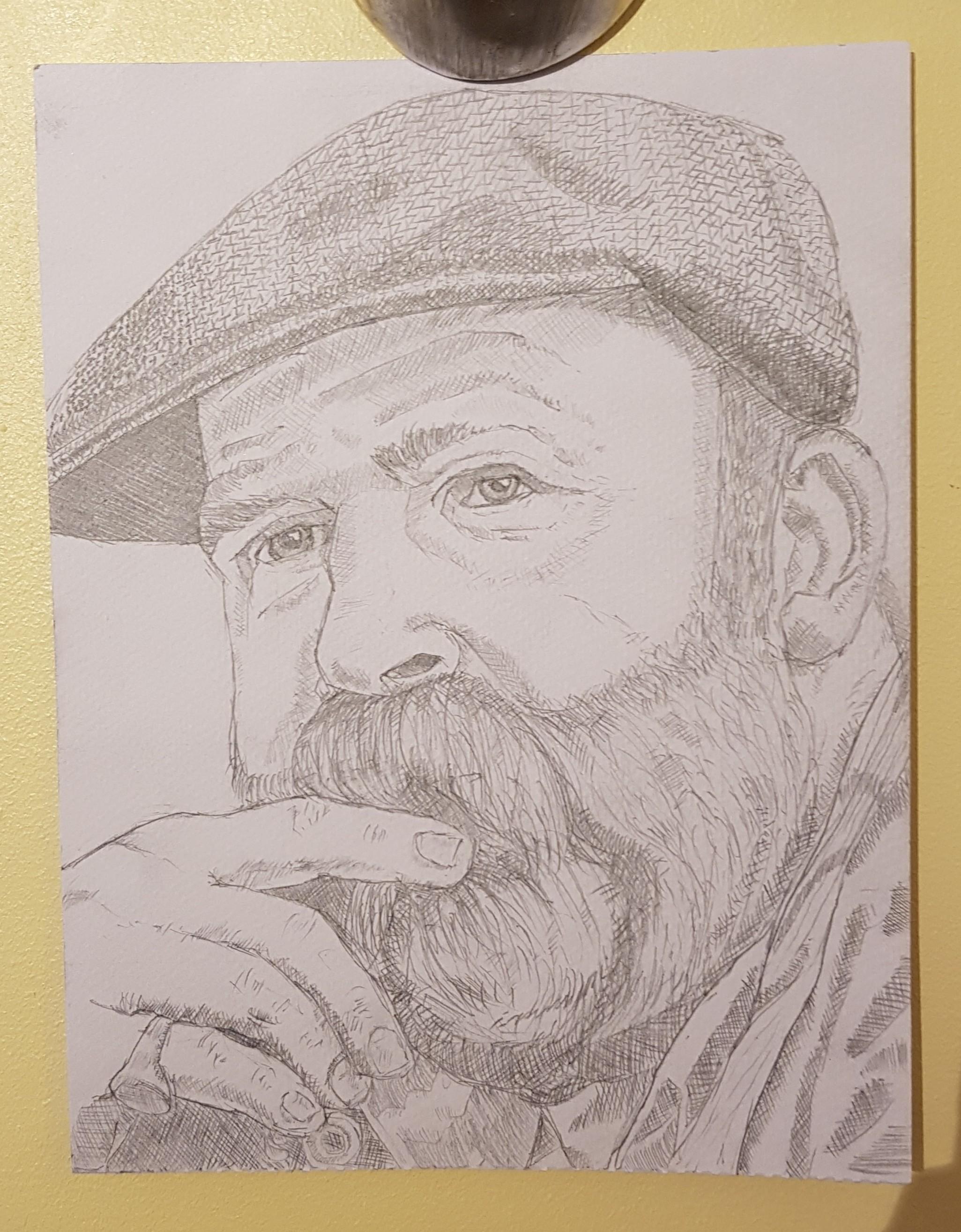 Dick Strawbridge pencil drawing by Glenn Quigley