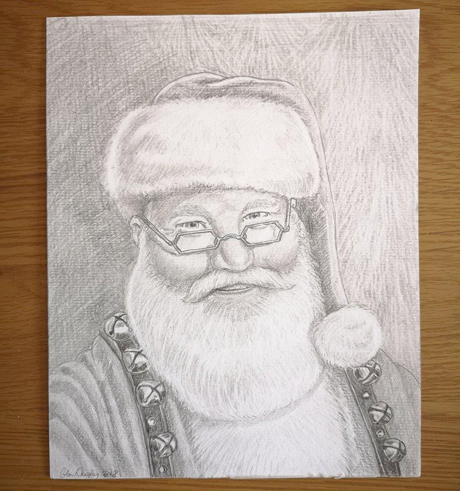 Santa Pencil Drawing by Glenn Quigley