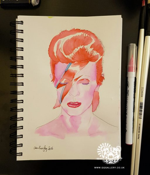 David Bowie Watercolour by Glenn Quigley