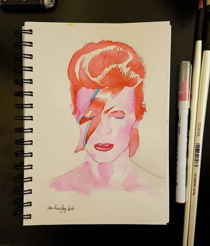 Watercolour David Bowie by Glenn Quigley