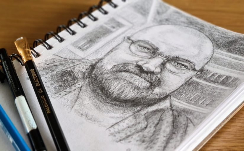 Pencil sketch of bald bearded man with glasses